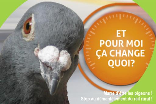 Marre d'être les pigeons ! Stop au démantèlement du rail rural