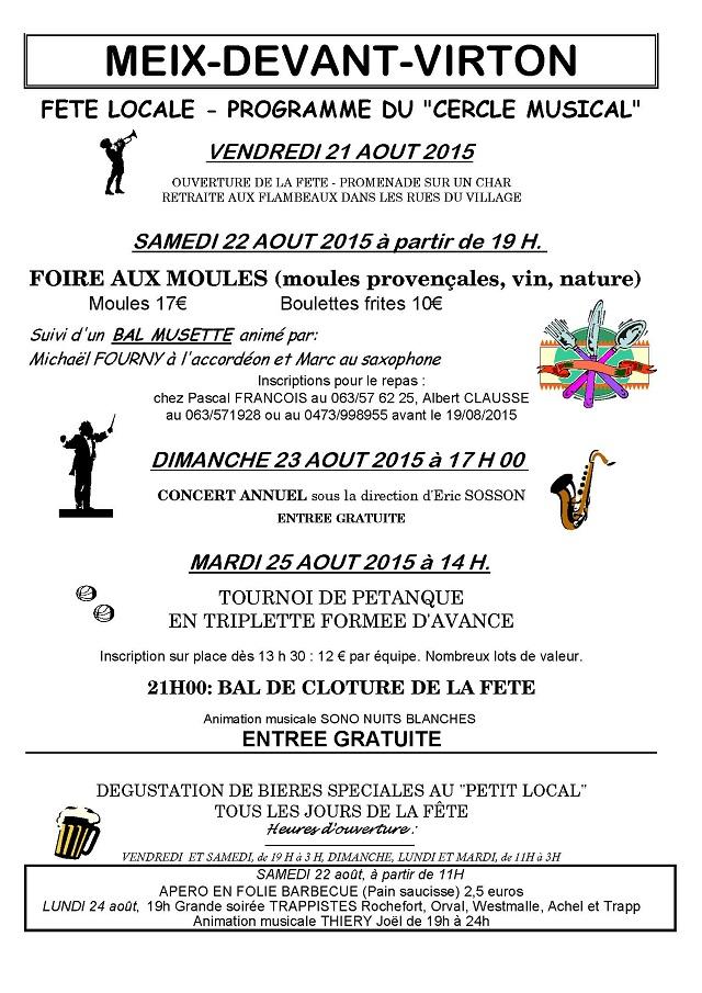 Meix-devant-Virton : fête en août