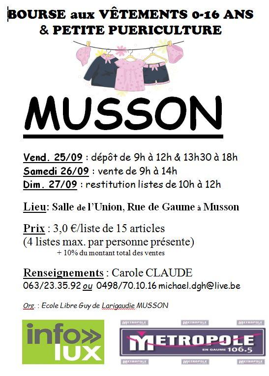 Musson organise une bourse aux vêtements automne – hiver