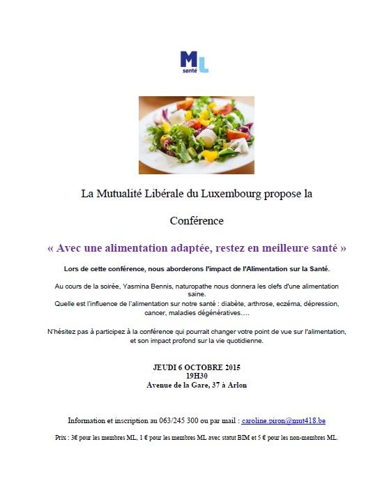 Conférence sur l'alimentation à Arlon