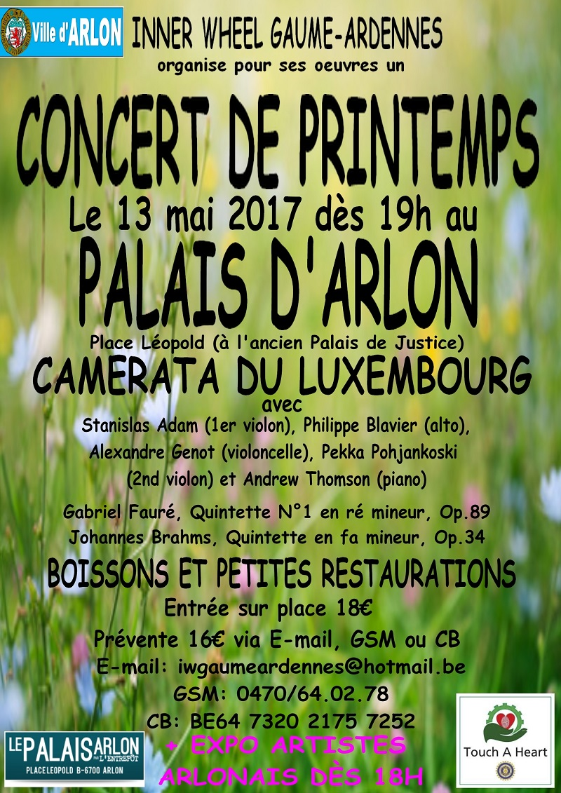 Le club Inner Wheel Gaume-Ardenne organise un concert de printemps au palais d'Arlon