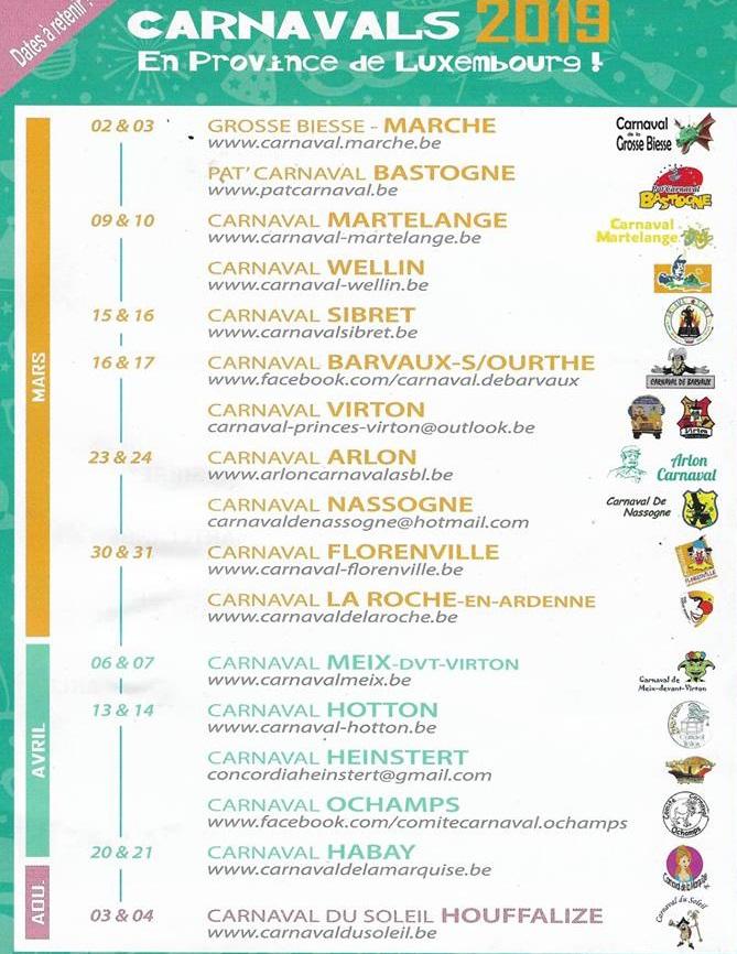 Date des carnaval de la province de Luxembourg