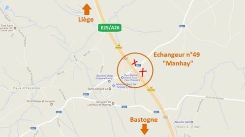 E25/A26 Travaux: Fermetures des bretelles à «Manhay»