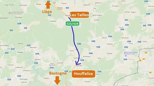 E25 chantier entre Les Tailles et Houffalize / Travaux