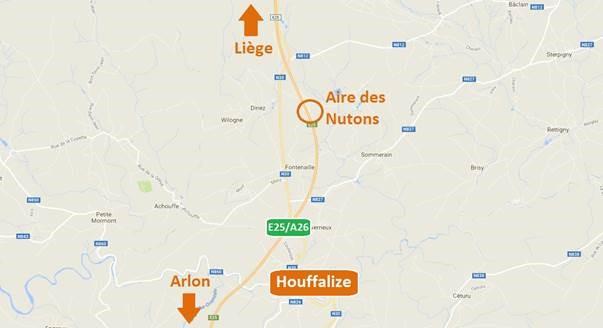 Fermeture de l'aire autoroutière des Nutons vers Arlon E25
