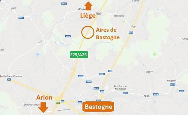 E25/A26 – Bastogne : fermeture des deux aires autoroutières