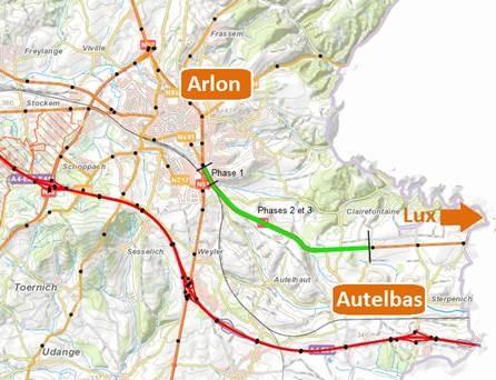 Travaux sur N4  Arlon et Steinfort