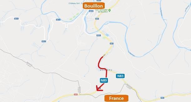 Bouillon: fermeture de la voirie vers la France