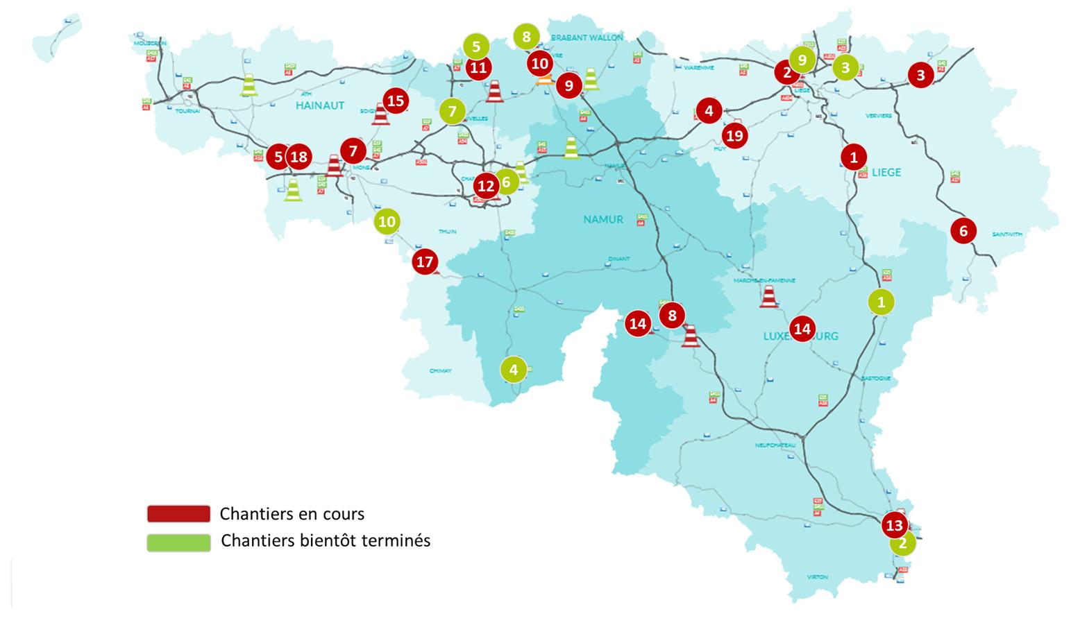 Principaux chantiers en cours sur les autoroutes et nationales en province de Luxembourg et en Wallonie