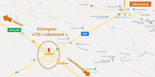 E411 Libramont:  Fermeture de la sortie