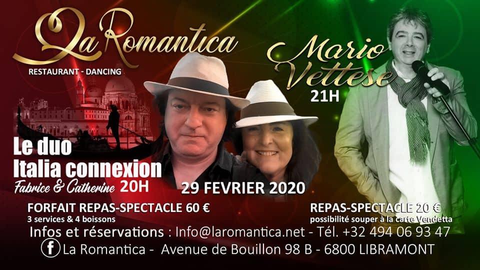 soirée Mario Vettese et Le duo Catherine et Fabrice Zanella à la Romantica Libramont