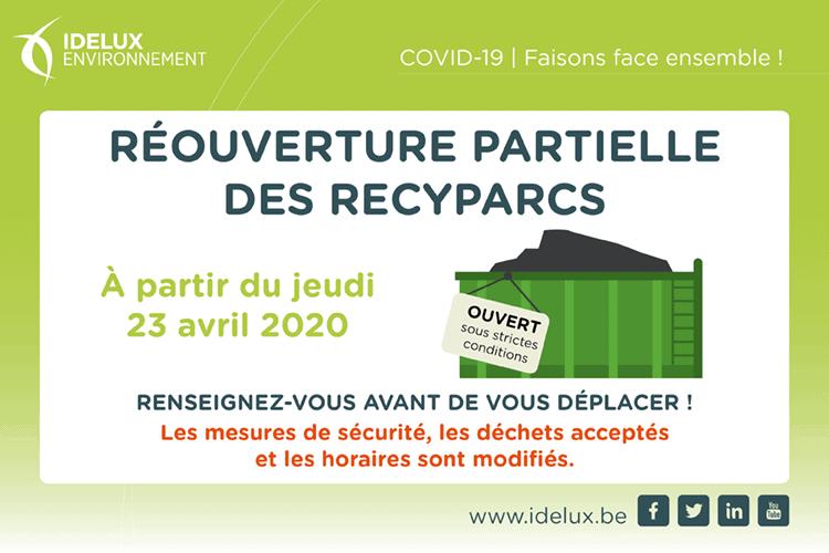 Recyparcs réouvrent modalités d'accès en province de Luxembourg , Arlon ,