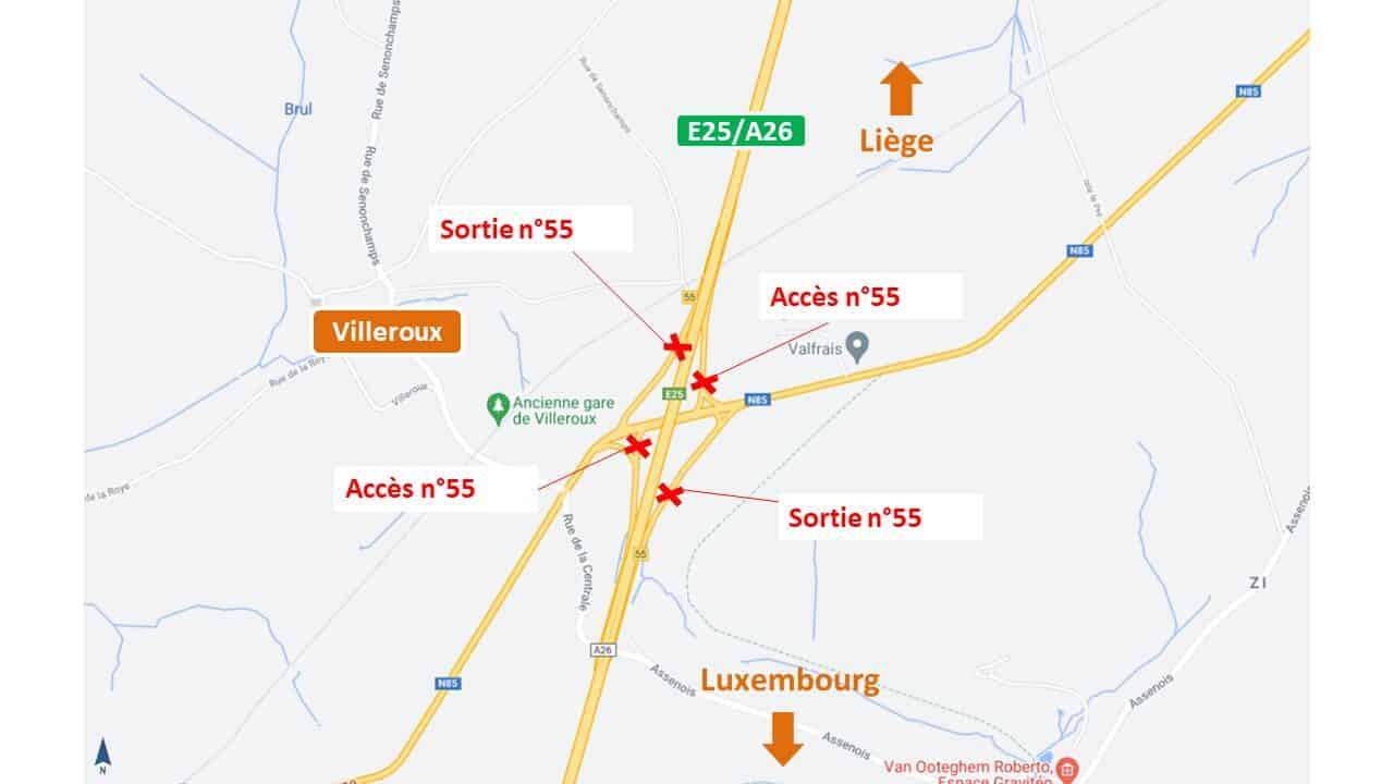 E25 E411 Travaux