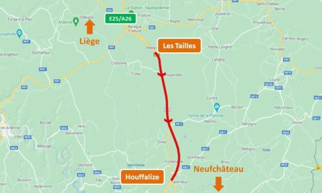 E25/A26 fin du chantier de réfection des revêtements entre Les Tailles et Houffalize vers Neufchâteau